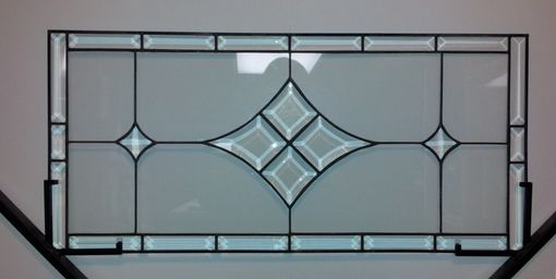 Custom Made Stained Glass Window Panel / Bevels And Clear / Transom Transom (W-21)