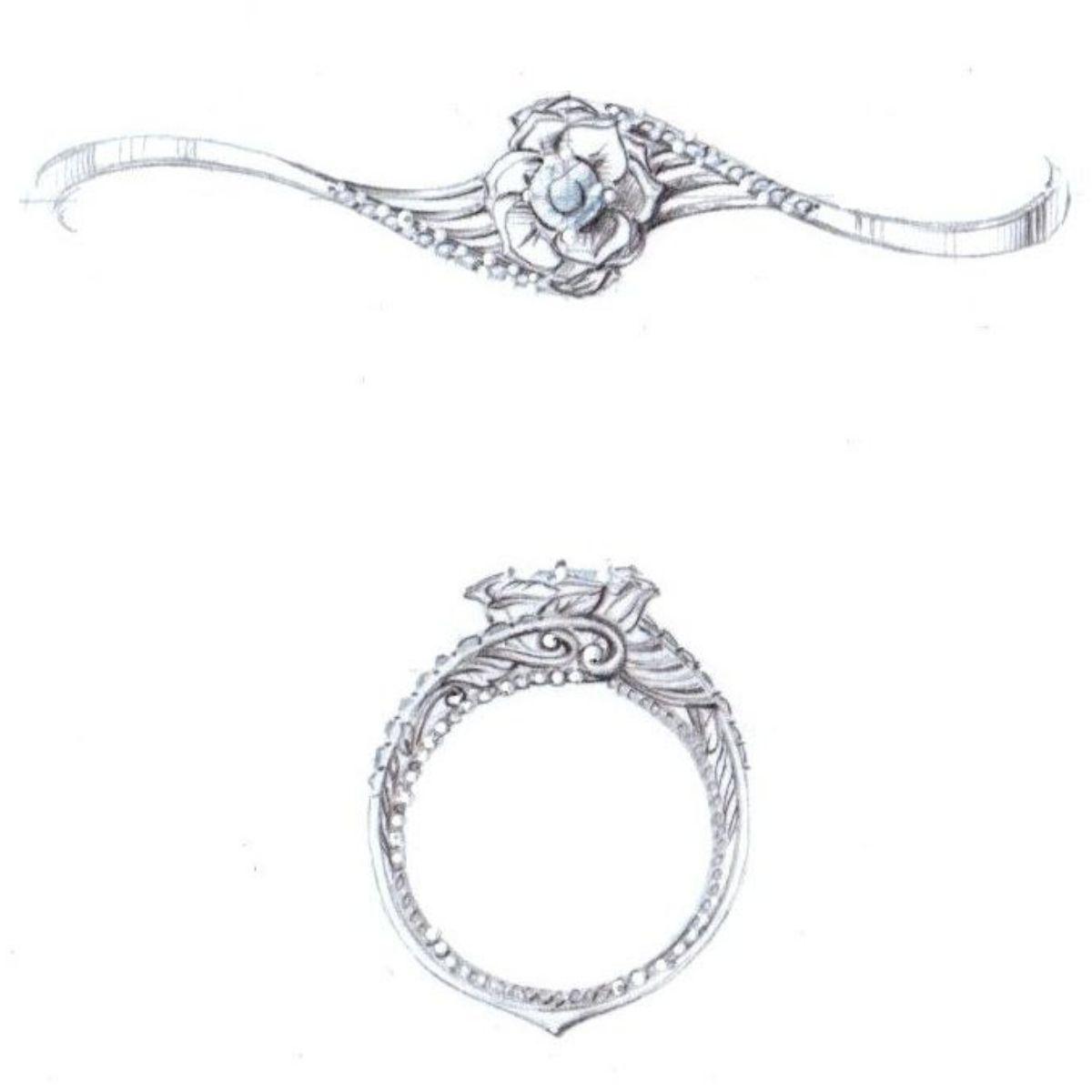 Flower Wedding Ring Set | Flower Engagement Rings Custommade Com
