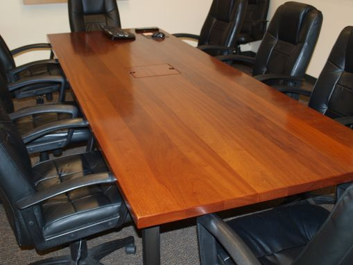 Custom Made Sapelle Conference Table With Steel Base