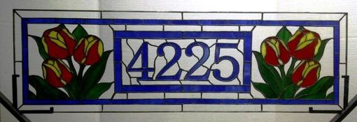 Custom Made Stained Glass Window - Tulip Transom With House Numbers (Am-14)