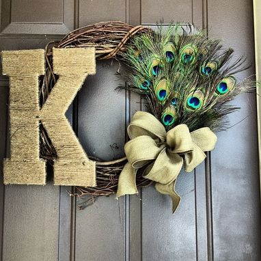 Custom Made Peacock Monogram Wreath
