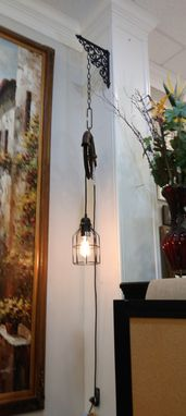 Custom Made Industrial Pulley Edison Bulb Pendant Light Fixtures Vintage