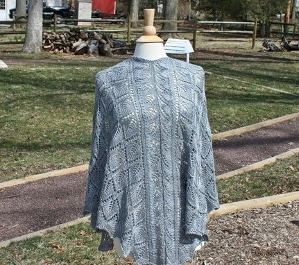 Custom Made Knit Shawl - Triangle Shape With A Lace Design In A Pewter Grey