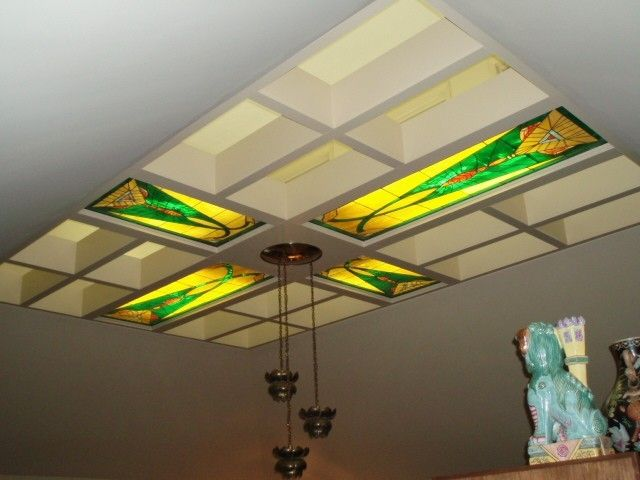 hand made illuminated stained glass ceiling panels by fuhrman glass