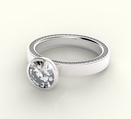 Custom Made Simple Modern Diamond Engagement Ring With Diamond Band.