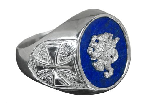 Custom Made Griffon In Silver Overlaid To Lapis Ring