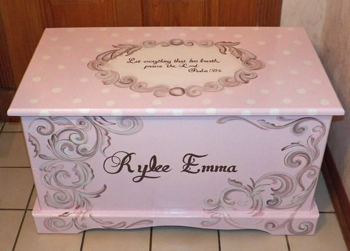 Custom Made Wooden Custom Hope Chest With A Verse Of Your Choice On Lid And Inside And Personilzed With Name.