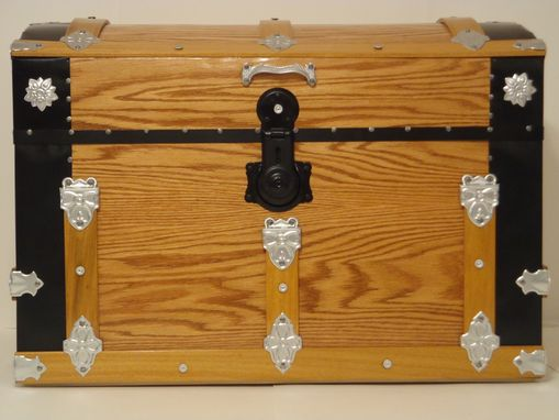 Custom Made Oak Steamer Trunk, Dome Top Trunk, Blanket Chest, Storage Chest, Antique Trunk