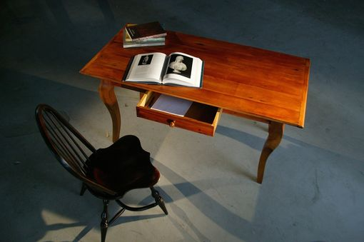Custom Made Barnwood Desk With Fruitwood Finish With French Legs