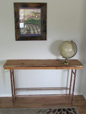 Custom Made Copper And Alder Hall Table