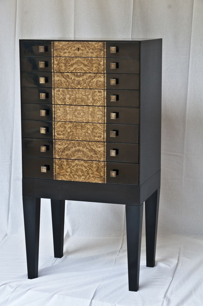 custom armoire  custommadecom - sleek modern black and burl jewelry armoire by dave heller