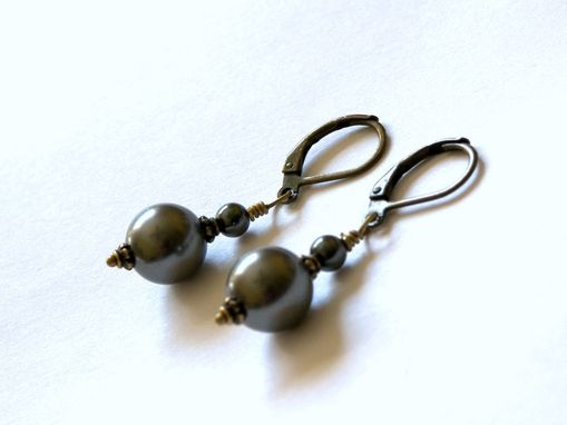 Custom Made Classic Dark Gray Swarovski Single Pearl Drop Earrings