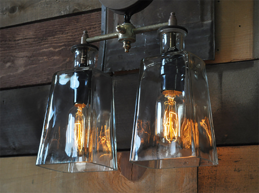 Custom Made The Southwestern - Pulley Wheel Wall Sconce With Recycled Glass Bottles