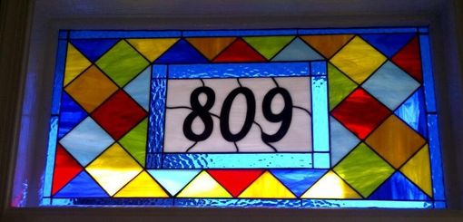 Custom Made Colorful Stained Glass Transom Window Panel --- Contemporary Diamonds 2 (Am-34)