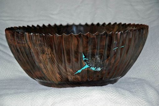 Custom Made Fluted Black Walnut Bowl With Turquoise Inlay