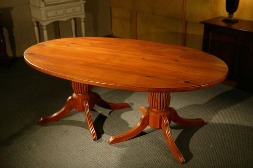 Custom Made Oval Dining Table With 2 Fluted Pedestals