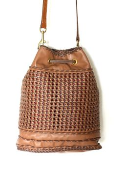 Custom Made Knots Mochila / Woven Leather Crossbody Handbag In A Traditional Colombian Style