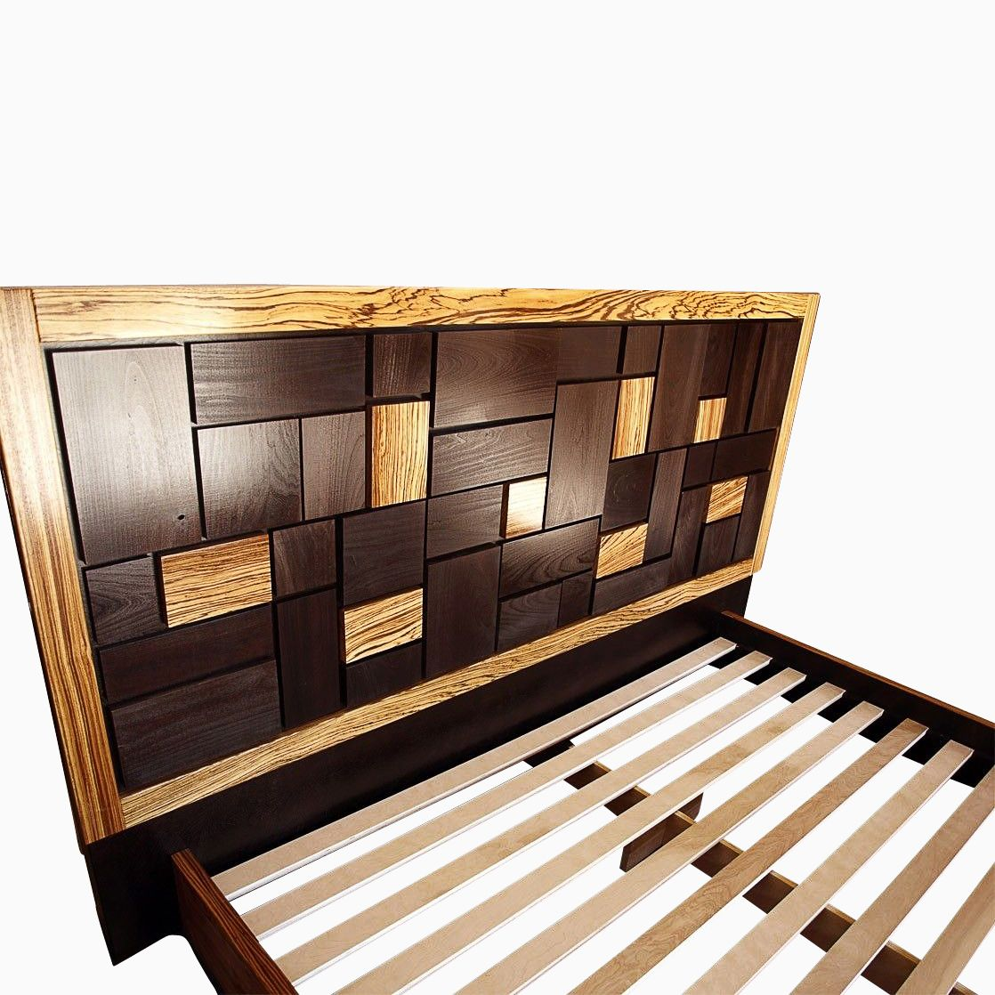 Hand Made Patterned Bed Headboard W Zebrawood Frame By Cc Fine Furniture