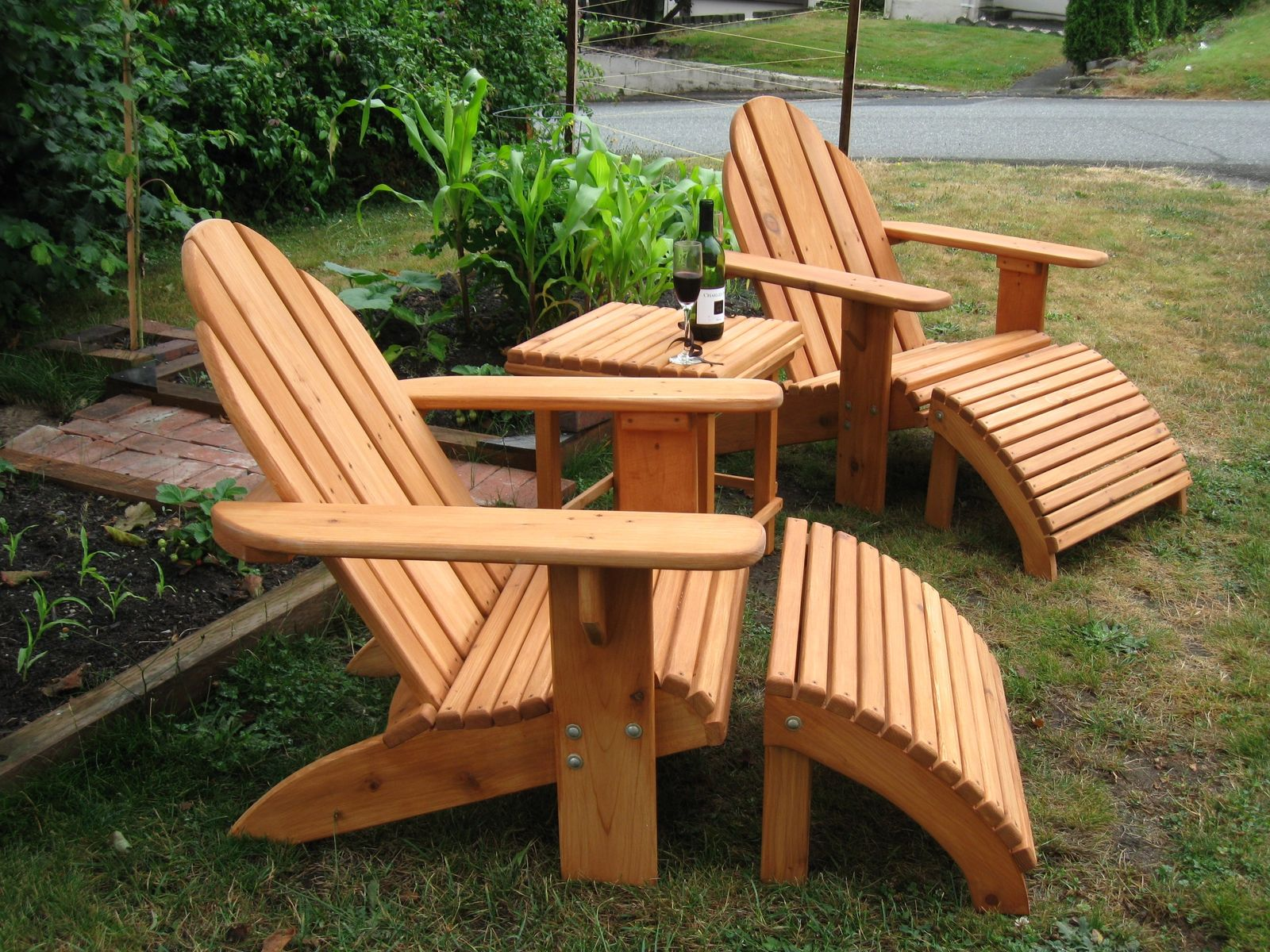 Handmade adirondack patio set by sam 39 s workshop for Adirondack ottoman plans