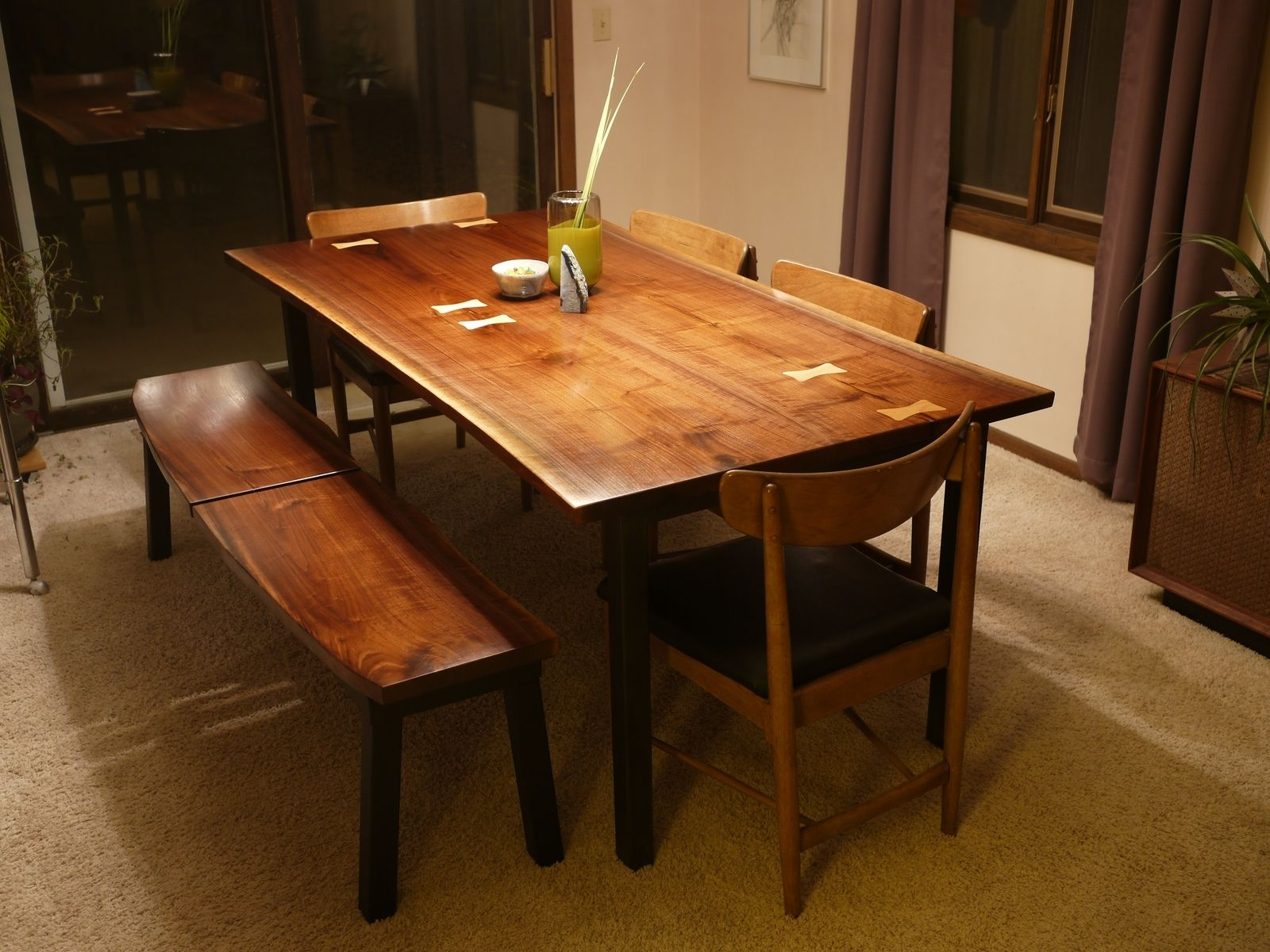 Custom Modern Walnut Dining Set With Maple Inlay by Tree A Hill