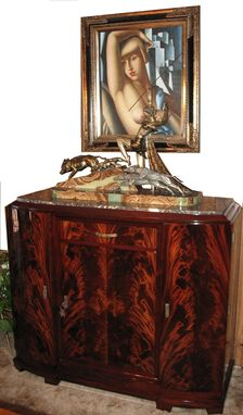 Custom Made Vintage Restored French Art Deco Sideboard With French  Sculpture By Limousin