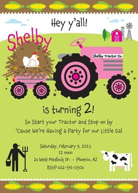 Custom Made Farm Birthday Invitation