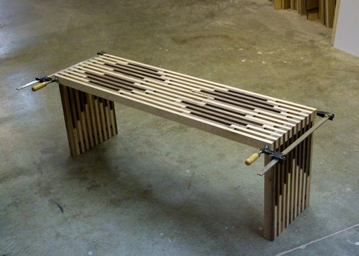 Custom Made Hard Maple And Walnut Slat Bench