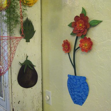 Custom Made Flower Wall Art Sculpture Large Metal Camellia Vase Reclaimed Metal Kitchen Decor Orange Red Blue