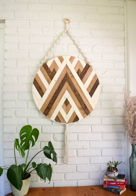 Custom Made Hazel - Round Macrame Wood Wall Art Hanging