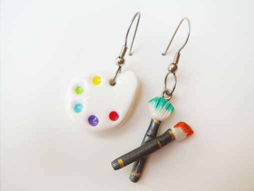 Custom Made Mismatched Earrings - Painter's Palette And Paintbrush - 100% Hand-Crafted