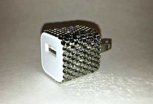 Custom Made Crystallized Apple Wall Charger Outlet To Usb Made With Swarovski Crystals - Any Color!