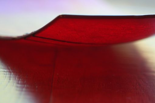 Custom Made Curved Glass Platter With Iridiscent Red Design