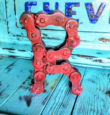 Custom Made Upcycled Welded Chain Art Alphabet Letter R Sign