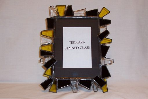 Custom Made Chunky Stained Glass Picture Frame 5 X 7 / Black And Gold (F-6)