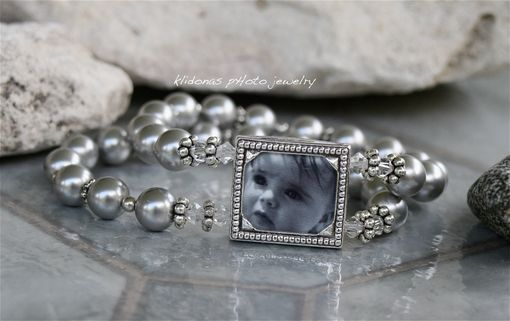 Custom Made Photo Frame Bracelet With Silver Swarovski Glass Pearls