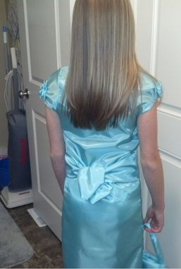 "Custom Made ""Tailored Clothing For You""  Example - Teal Taffetta Dress, Sash And Purse"