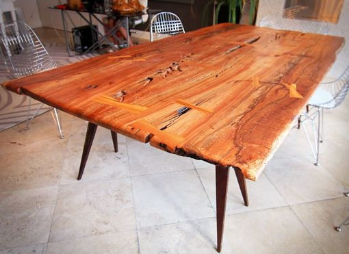 Custom Made Bookmatched Laurel Oak Slab Table