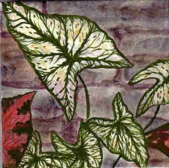 Custom Made Caladiums Ceramic Tile Wall Mural