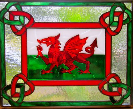 Custom Made Fused Glass And Stained Glass Panel- Cymru Am Byth (Wales Forever)