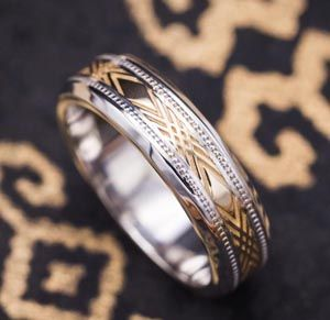 alexis wedding band yellow gold inlay with diamond details set in a white gold band with softly beveled edges when we ask do you tend to like white gold - How Do Wedding Rings Work