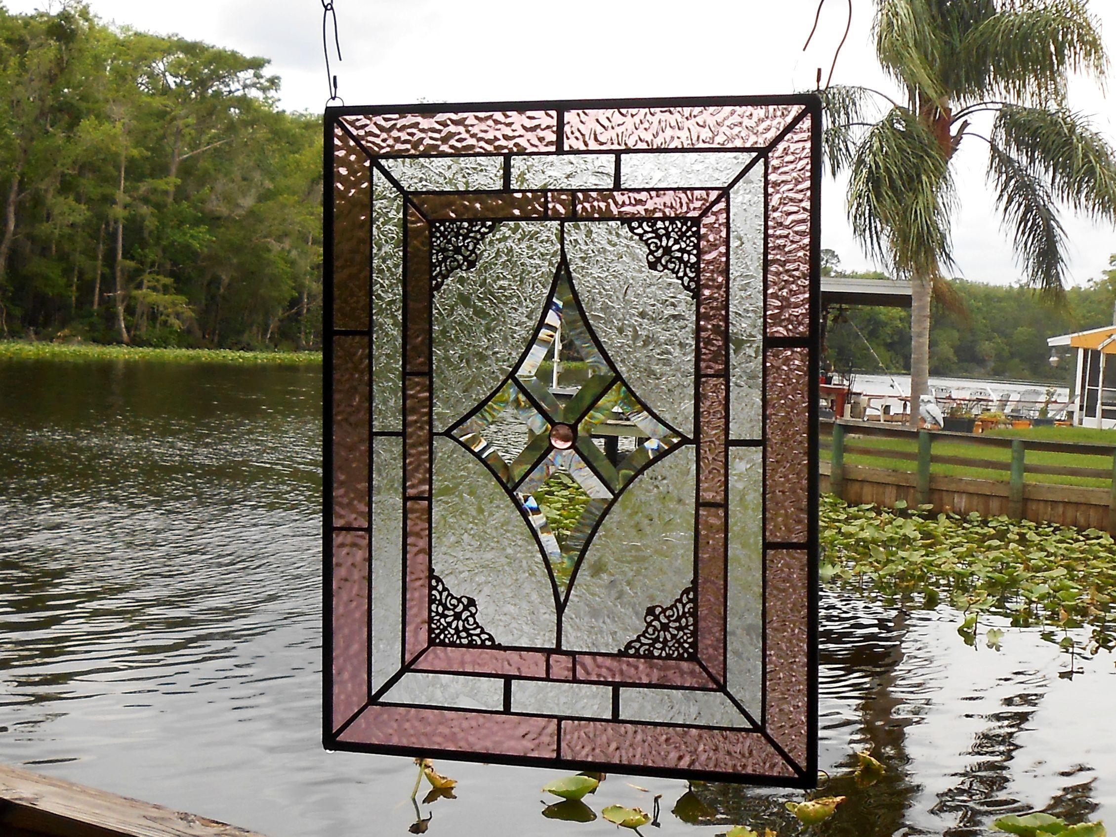 Buy Custom Vintage Look Stained Glass Window Panel, Textured ...