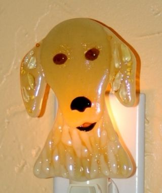 Custom Made Custom  Fused Glass Pet Portrait Nightlight - Golden Retriever