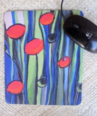 Custom Made Mousepad Poppies Artwork Mouse Pad With Original Art- Red Blue Green Black By Devikasart