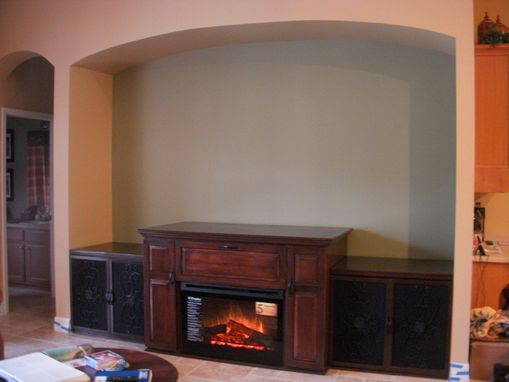 Custom Made Maple Entertainment Center With Electric Fireplace