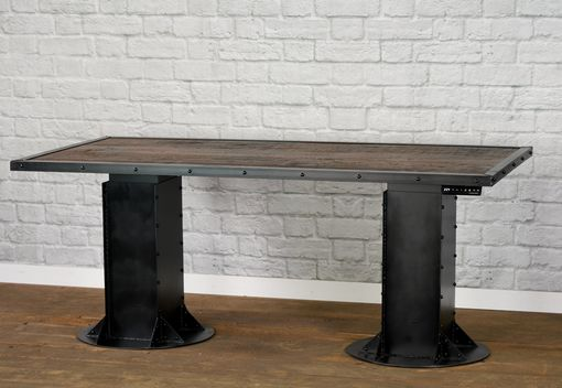 Custom Made Sit/Stand Desk. Adjustable Height. (Sit To Stand)., Reclaimed Wood. Urban. Modern. Industrial Table.