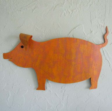 Custom Made Art Sculpture Pig Metal Wall Farm Animal Recycled Metal Folk Art