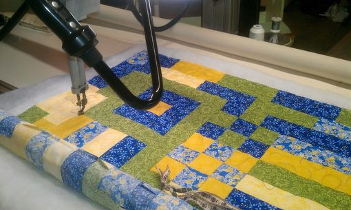 Custom Made Blue And Yellow Floral Wall Hanging