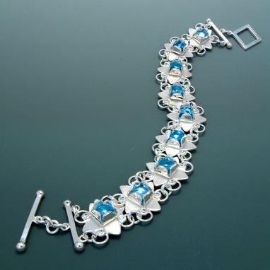 Custom Made Diamond Clover Braclet With Blue Topaz And Cubic Zirconia