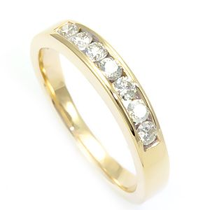 Custom Made Round Diamond In 14k Yellow Gold, Diamond Wedding Band, Ladies Ring
