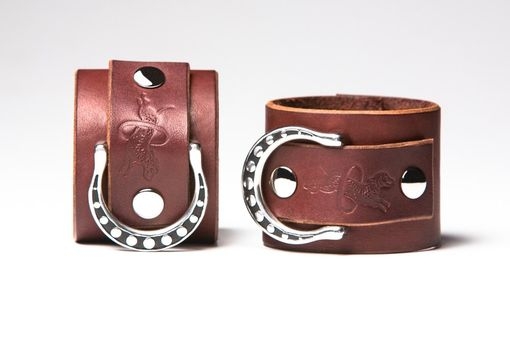 Custom Made Chestnut Leather Bondage Cuffs - Steel Rings - Spotted Shadow Motif - Nickel Fasteners
